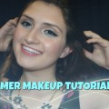 Summer-makeup-tutorial-2016-Blue-eyeliner-and-coral-lips