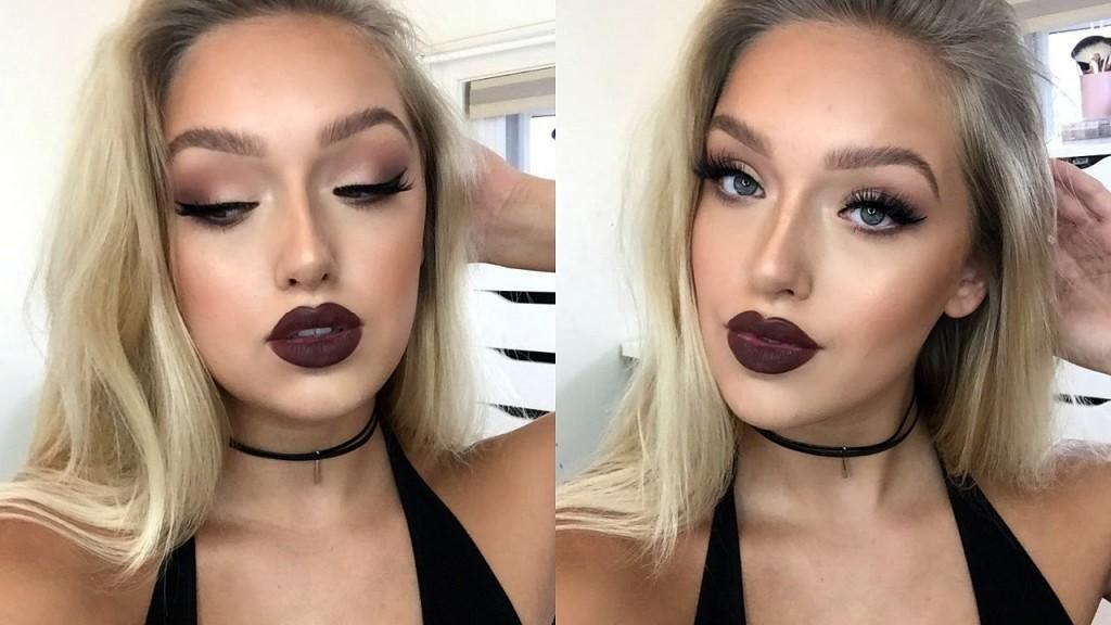 Instagram Baddie Makeup Tutorial Matte Eyes Dark Lips