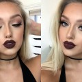 Instagram-Baddie-Makeup-Tutorial-Matte-Eyes-Dark-Lips
