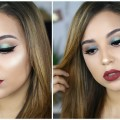 Classic-Fall-Makeup-Tutorial-Forest-Green-Eyes-Mulberry-Lips