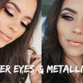 Glitter-Cut-Crease-Metallic-Lips-Makeup-Tutorial