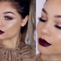 FALL-Makeup-Tutorial-Rose-Gold-Eyes-Bold-Lips-Blissfulbrii
