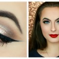 100-DRUGSTORE-Classic-Holiday-Makeup-Tutorial-Champagne-Neutral-Eyes-Red-Lips