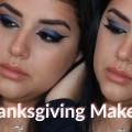 Blue-Glitter-Cat-Eye-Glossy-Peachy-Lips-Ojo-de-Gato-Azul-Brillante-Labios-Durazno