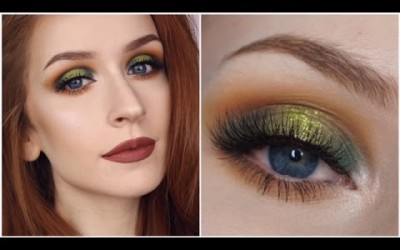 GREEN-ORANGE-GLITTER-EYES-Makeup-Tutorial