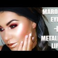 MAROON-EYES-METALLIC-LIPS-LIQUID-LIPSTICK-EYESHADOW-MISS-CARRIE-MAKEUP