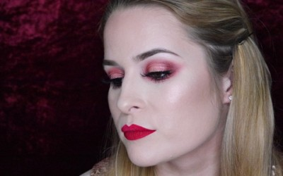 Beautiful-Pink-Halo-Eyes-and-Red-Lip-Makeup-Tutorial-Valentines-Mini-Series