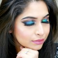 Peacock-Blue-Glitter-Smokey-Eye-Makeup-I-Full-Coverage-Foundation