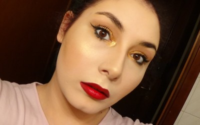 Hollywood-Glam-Makeup-Tutorial-Easy-Metallic-Gold-Eyes-Ombre-Red-Lips-CRM