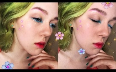 Spring-Makeup-Tutorial-Doll-lips-flowers-2017
