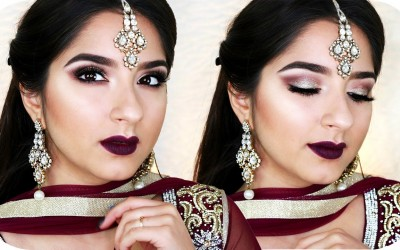 Get-Ready-With-Me-Indian-Wedding-Make-Up-Bollywood-Look-Gold-Lila-Sanny-Kaur