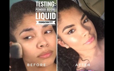 Testing-Makeup-Hacks-Powder-Before-Foundation