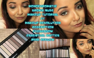 Monochromatic-Brown-Nude-Makeup-TutorialMakeup-Revolution-Essential-Mattes-EyeShadow-Mini-Review