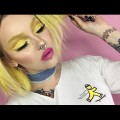 spring-makeup-tutorial-bright-yellow-eyeshadow-pink-lips